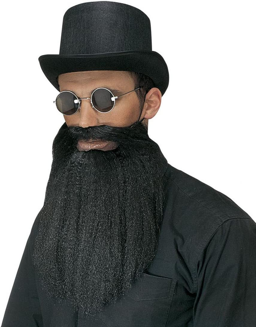 Karneval falscher Bart geschwungener Schnurrbart schwarz Magier Zauberer MM-55