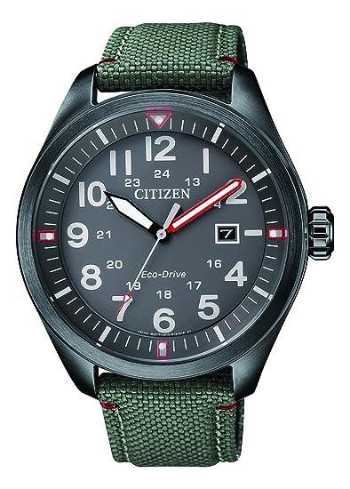 7433dd020168 Citizen Hombre analógico de Cuarzo Reloj con Textil Pulsera aw5005 - 39h   Amazon.es  Relojes