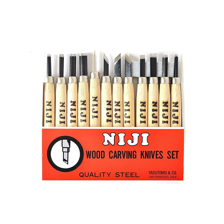 Niji Yasutomo Wood and Linoleum Cutting Set, Set of 12, Wood, 4-1/2 in handles Yasutomo Inc BCAC21461