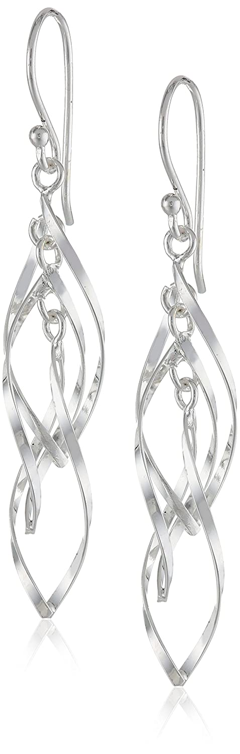 Sterling Silver Twisted Triple Drop Earrings Amazon Collection E0735A