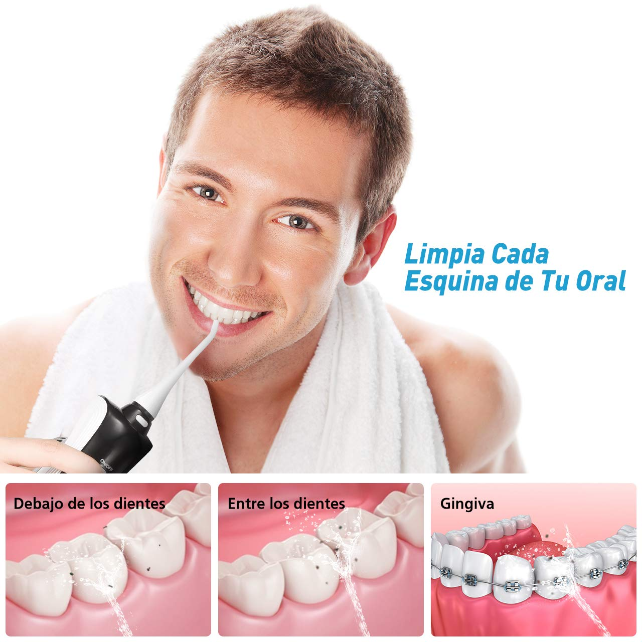 ELLESYE Irrigador Dental Inalambrico Profesional 330ml Capacidad,3 Modos con 2 Extremidades, Irrigador Oral Dental Portátil Recargable IPX7 Impermeable, ...