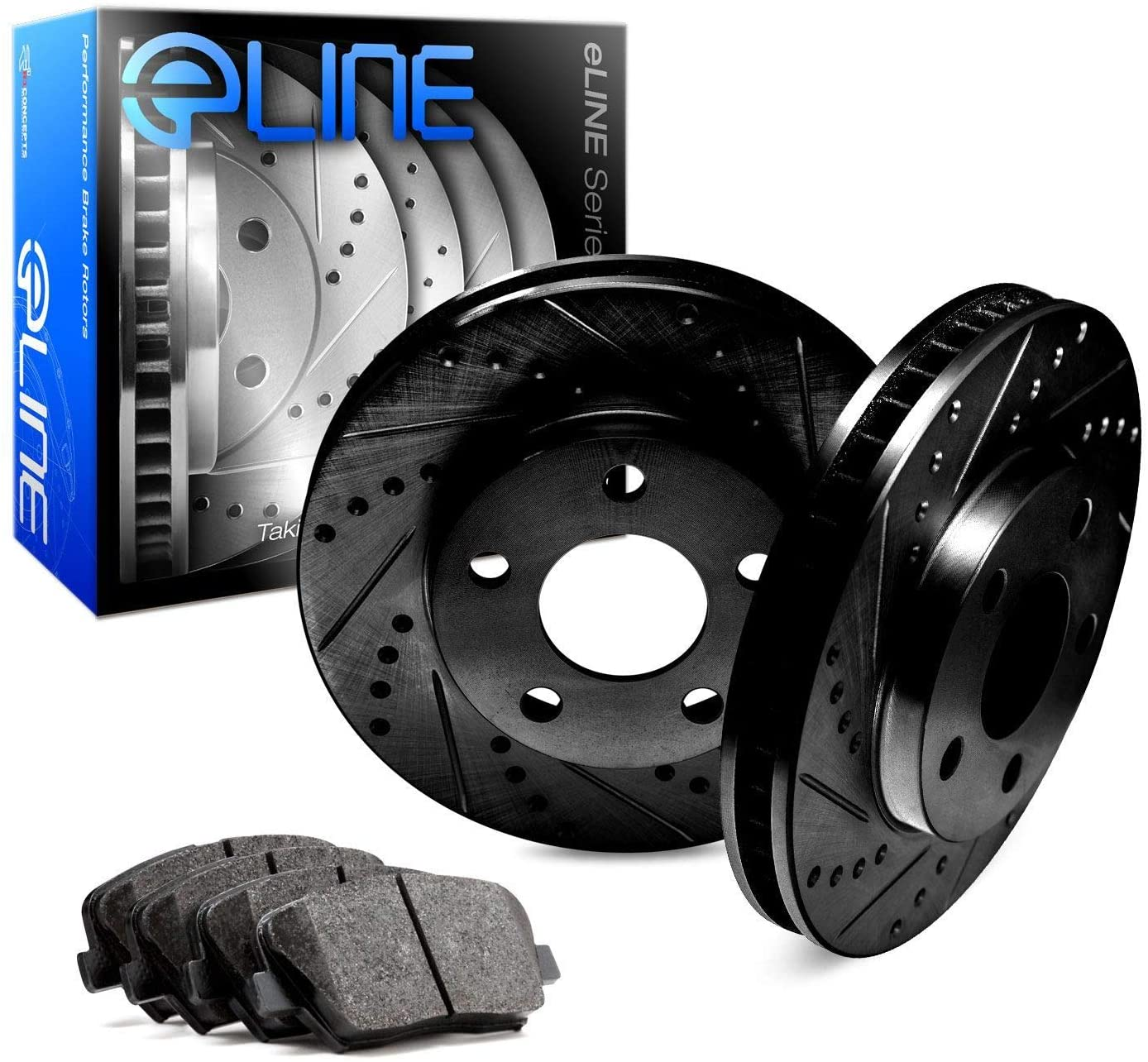 For 2010 BMW 535i GT Rear Black Drill Slot Brake Rotors Semi-Met Brake Pads