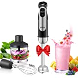 Hand Blender, Aicok 350W 4-in-1 Immersion Blender, Stick Blender with 5 Speed, Stainless Steel Stick Blender for Smoothies, Baby Food, Soup, Vegetables and Fruits, Black