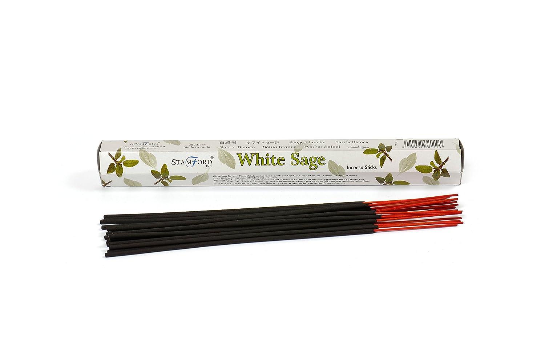 Elite, salvia bianca, bastoncini di incenso, 6 confezioni (Full Box) per un totale di 120 bastoncini + 1 porta incenso in legno con intarsi in ottone Hem