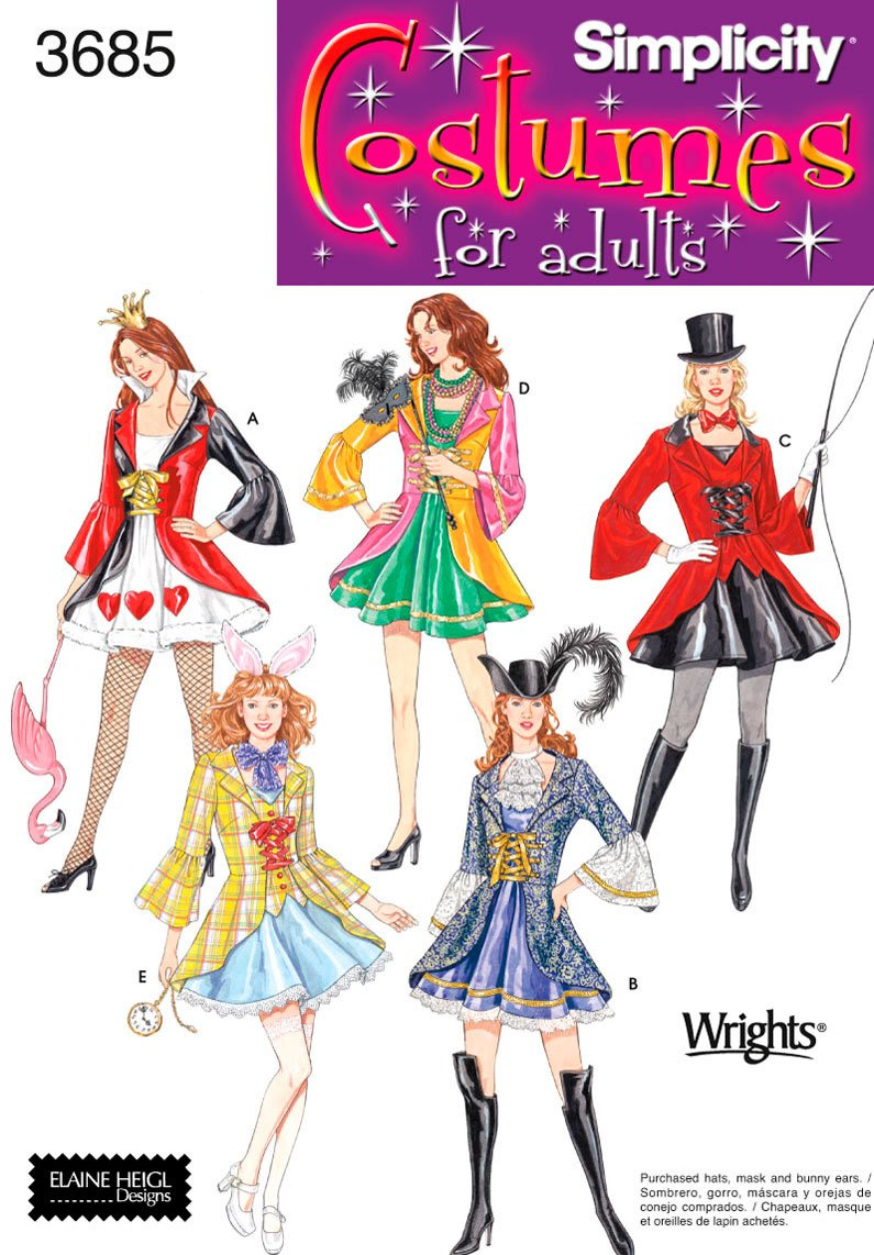 Amazon.com: Simplicity Sewing Pattern 3685 Misses Costumes, RR (14-16-18-20): Arts, Crafts & Sewing