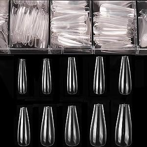 Coffin Nails Long Fake Nails - Clear Acrylic Nails Coffin Shaped Ballerina Nails Tips BTArtbox 500pcs Full Cover False Nail Artificial Nails with Case for Nail Salons and DIY Nail Art, 10 Sizes