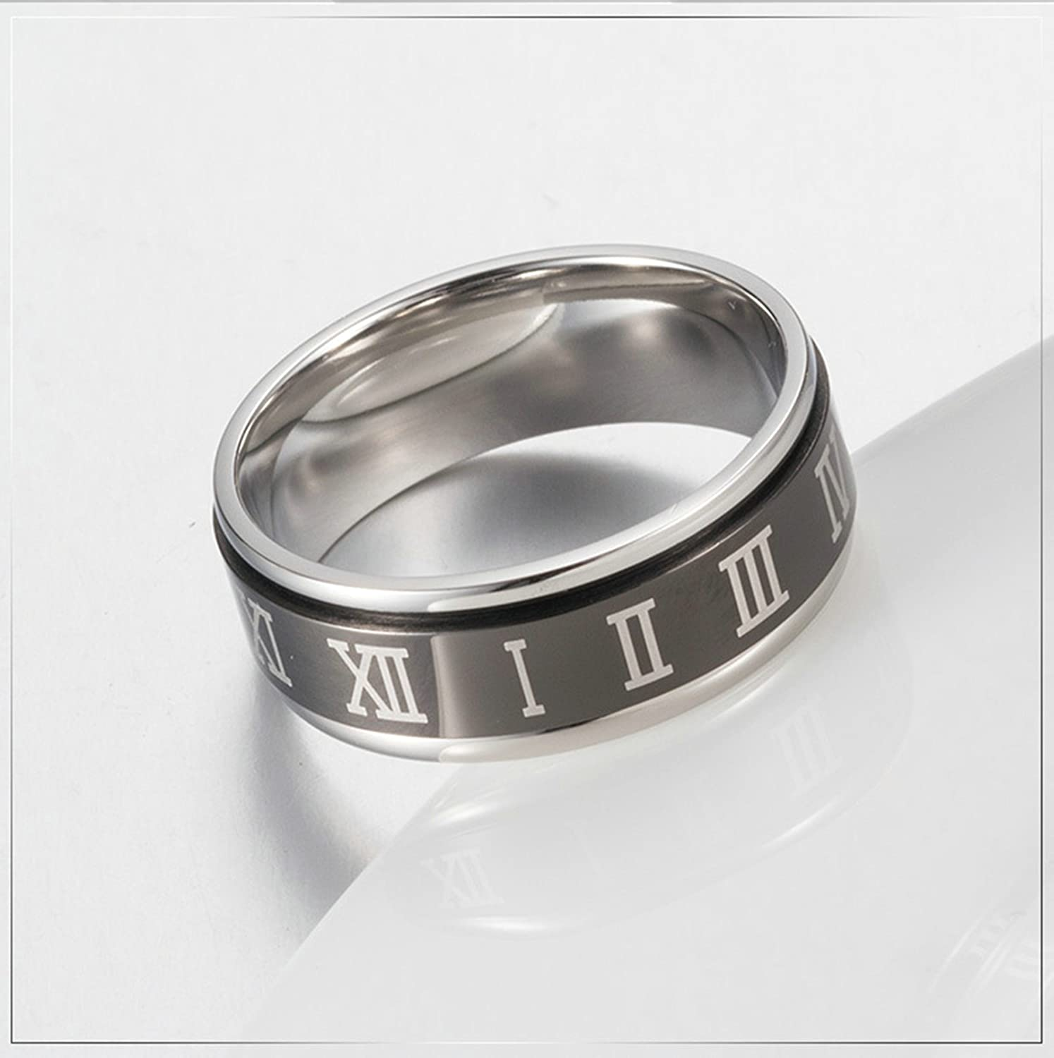 Bishilin Stainless Steel Ring Men Round Roman Numerals Mens Wedding Bands Black Size 11