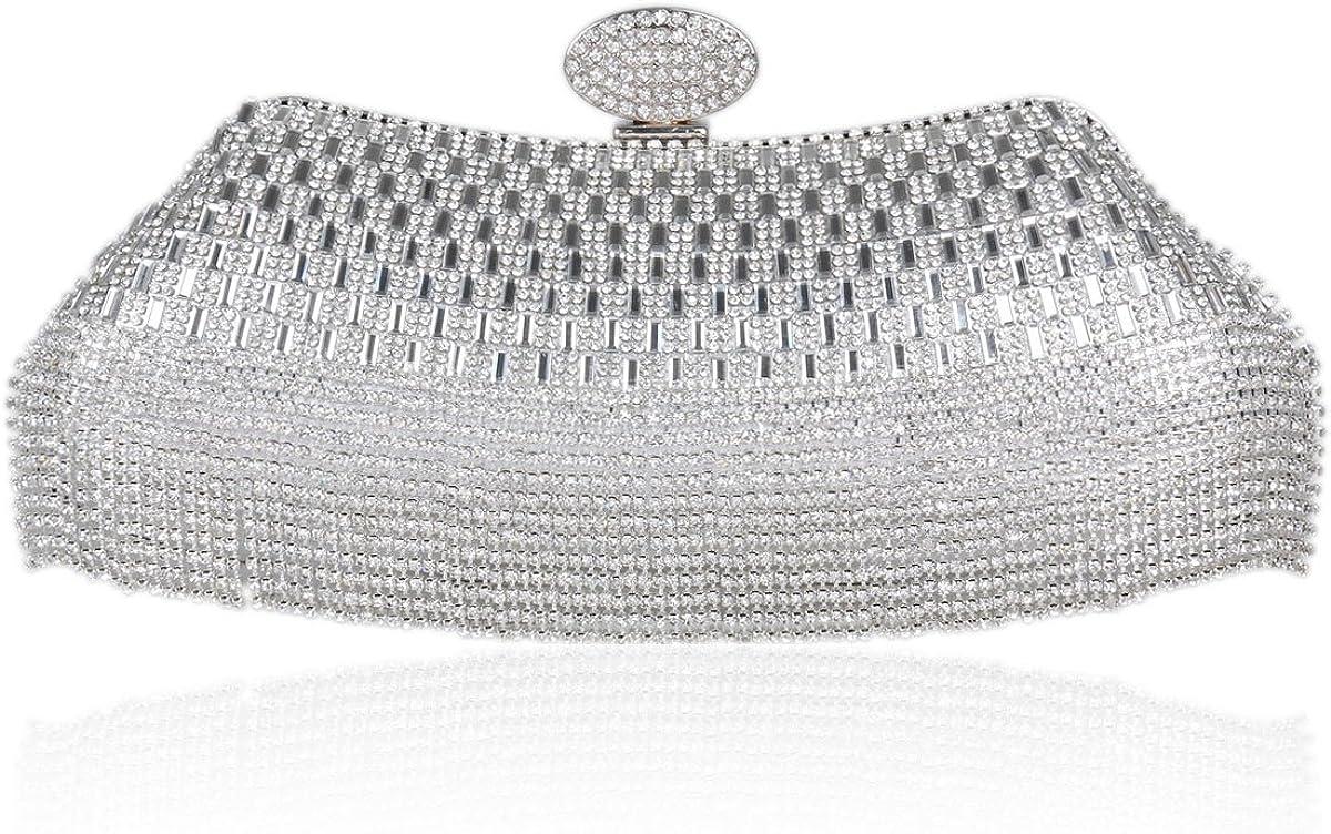 Damara Ladies Formal Event Party Crystal Clutch Wedding Hand Bag