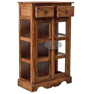 Angel Furniture Solid Sheesham Kitchen Crockery Cabinet In Honey Finish