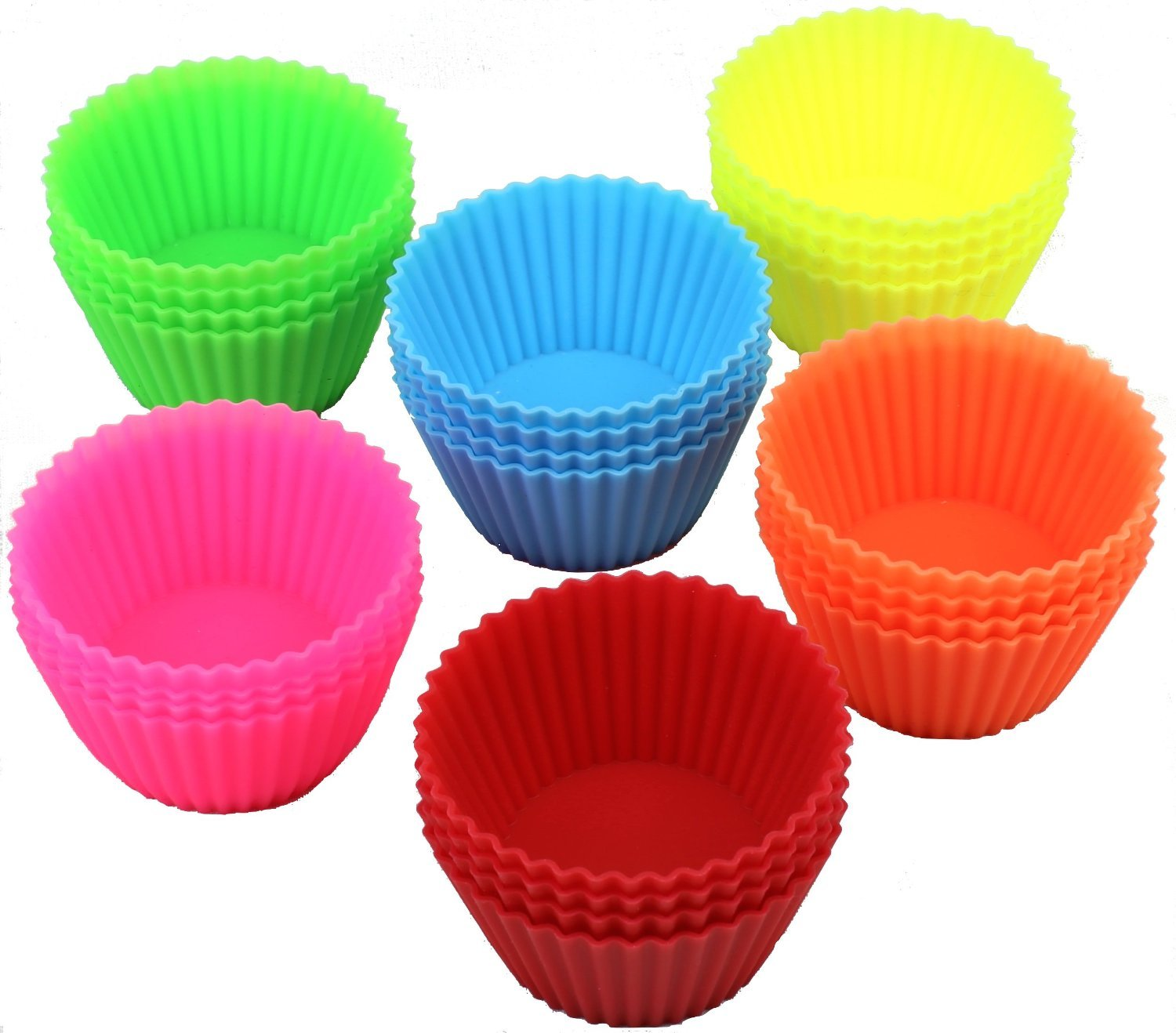 24 Pack - DecoBros Silicone Baking Muffin Cup Cupcake Liners Molds Set