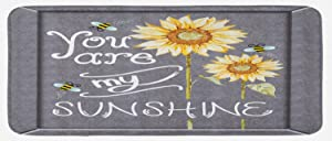 "Lunarable You are My Sunshine Kitchen Mat, You are My Sunshine Words on Blackboard Bees Sunflowers Vintage Image, Plush Decorative Kitchen Mat with Non Slip Backing, 47"" X 19"", Yellow Grey"