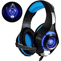 Beexcellent Stereo PS4 Gaming Headset with Mic LED Lights Bass Surround Soft Memory Earmuffs Noise Cancelling Over Ear Headphones for Playstation 4, Xbox one,Laptop,Computer (Blue)