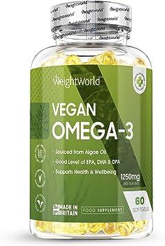 Omega 3 Vegano Aceite de Algas Marinas 1000 mg - 550mg de EPA y DHA, Suplemento Para