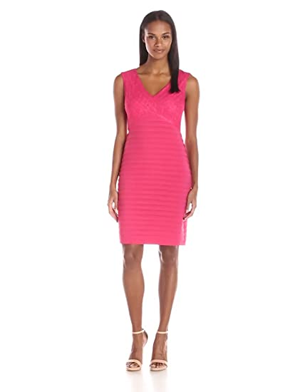 dc8044da966 Amazon.com  Adrianna Papell Women s Directional Banding Sheath Dress ...