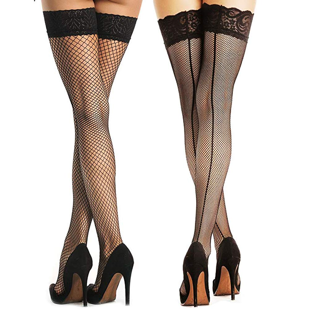Women's 2 Pairs Fishnet Thigh High Stockings with Silicone Lace Top Nylon Pantyhose