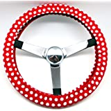 Mana Trading Handmade Steering Wheel Cover Red and White Dots