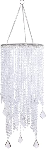 FlavorThings 2 Tiers Clear Beaded Hanging Chandelier,W8.5 X H20.5 ,Great idea for Wedding Chandeliers Centerpieces Decorations and Any Event Party Home Decor Clear Non-Iridescent