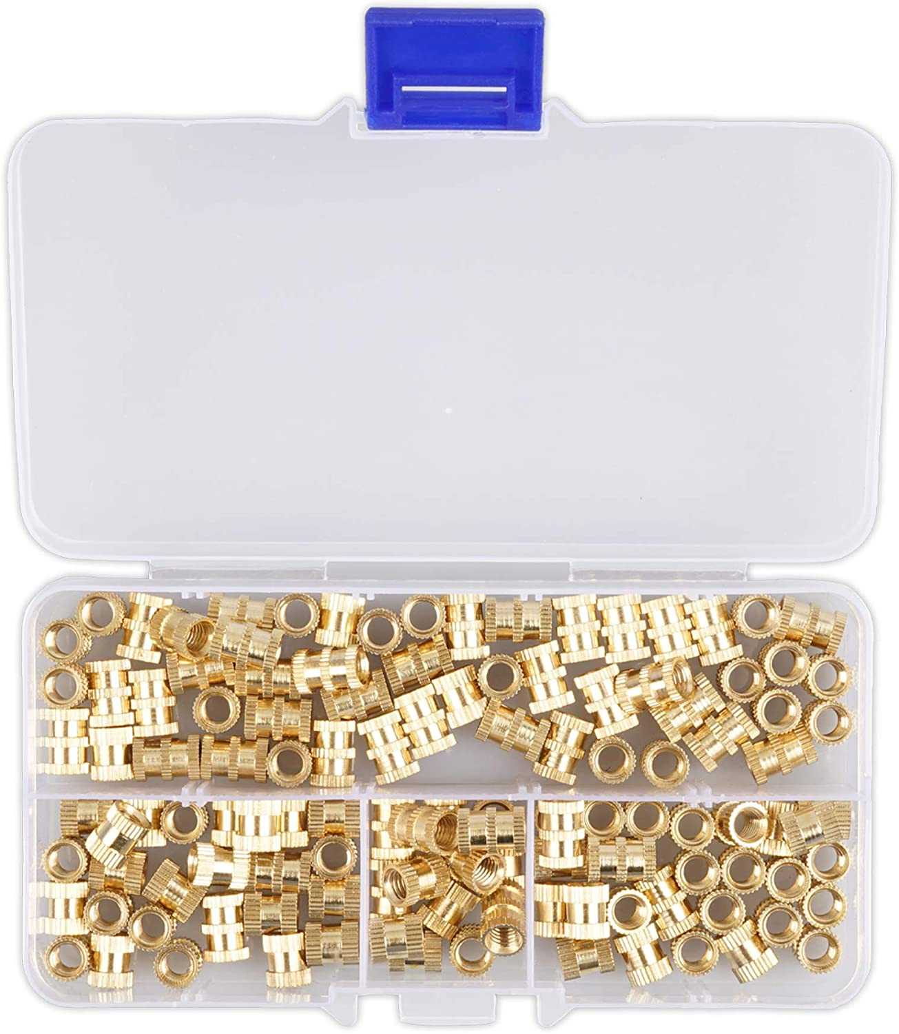 M5 Brass Knurled Nut Round Injection Molding Brass Nuts Threaded Inserts Nut Assortment Kit for 3D Printing M5x8mm M5x10mm Brass Insert Embedment Nut 120pcs Female Thread Knurled Nuts with Box