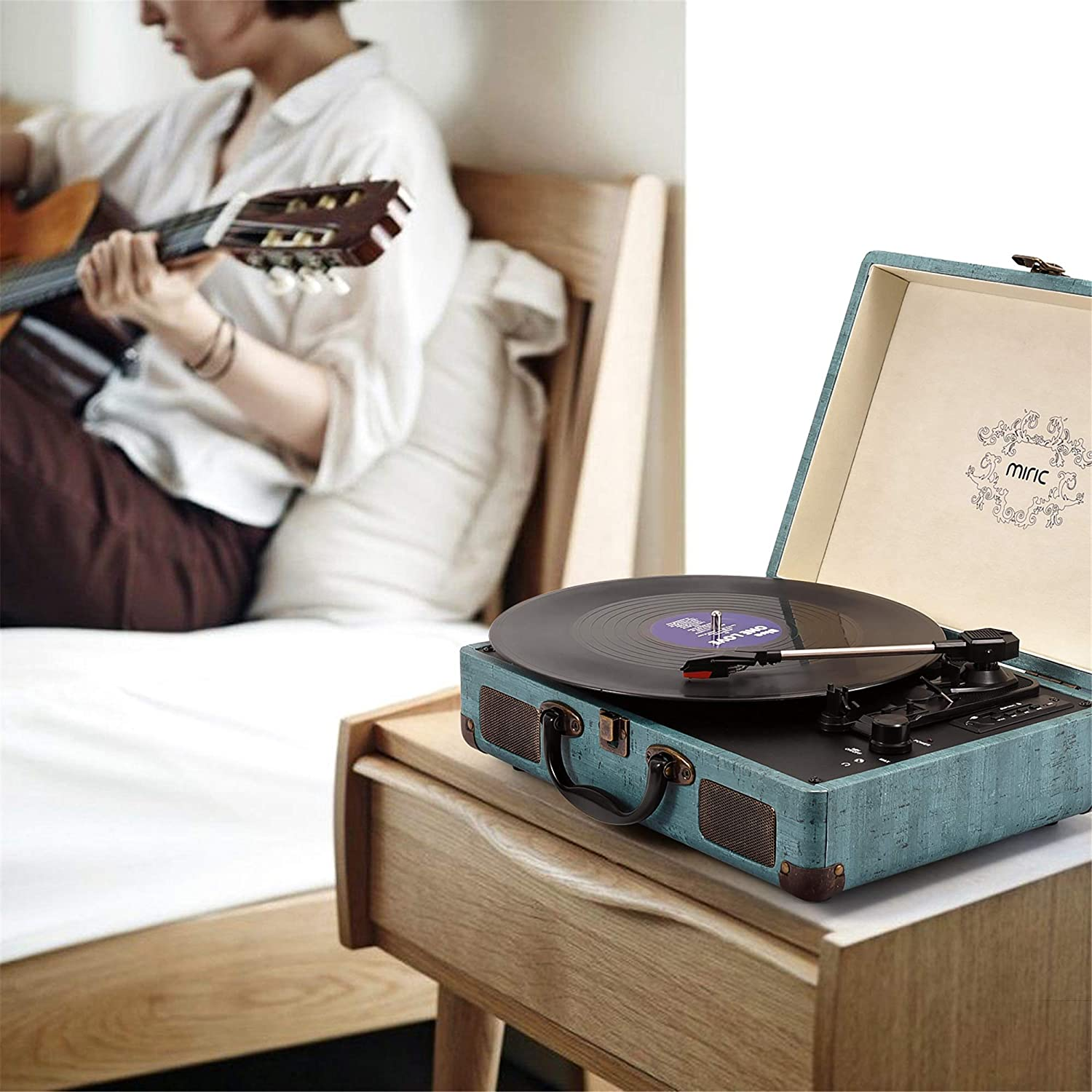 3-Speed Record Player Equipped USB//SD//AUX Port Portable Size Miric Bluetooth Turntable with 2 Built-in Speakers Support Transcription Suitcase Design for 7//10//12inch Vinyl Records