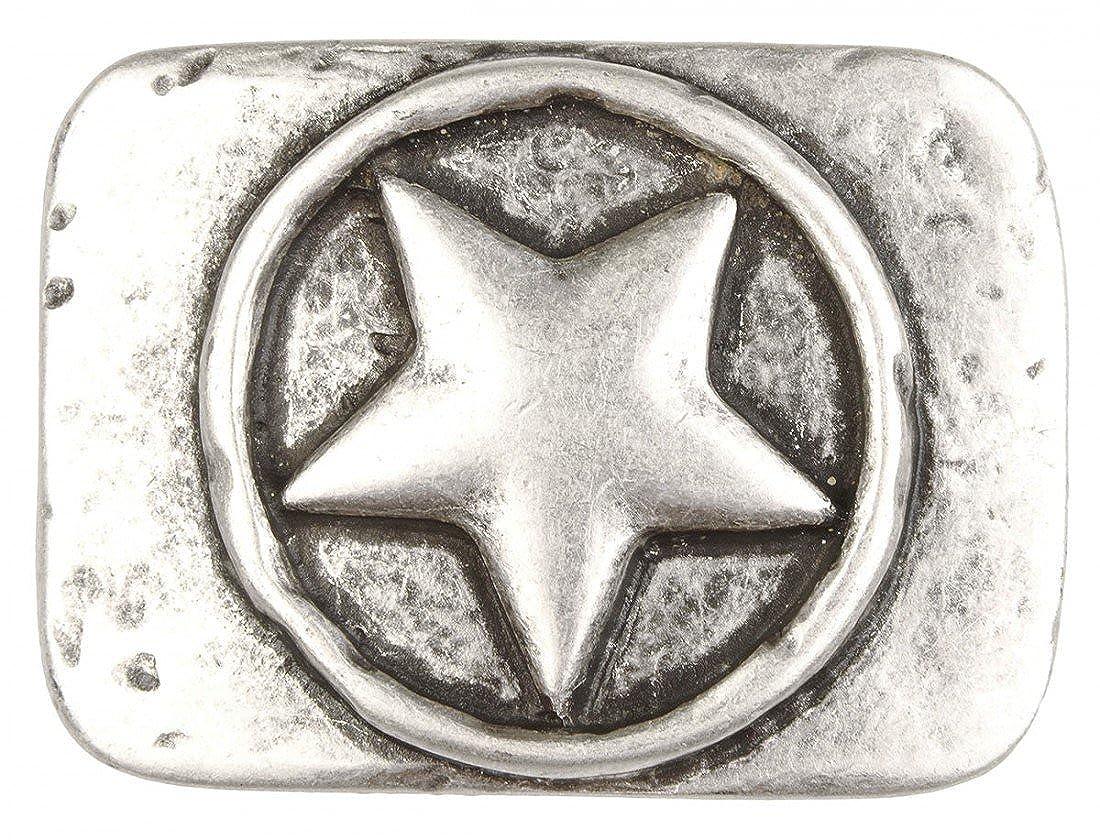 Gürtelschnalle mit Relief - Eingekreister Stern - Wechselschliesse in edlem Design als besonderes Geschenk