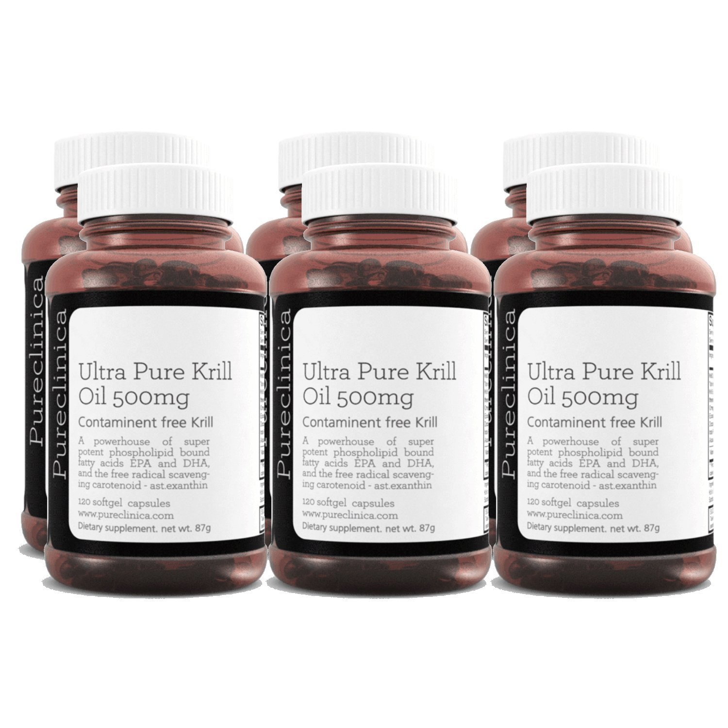 Ultra Pure Aker Krill Oil 500mg x 720 Capsules (6 Bottles) - sourced in The unpolluted Waters of Antarctic Providing a Rich Supply of Astaxanthin, Omega 3, and Vitamin D. SKU: KRI500x6