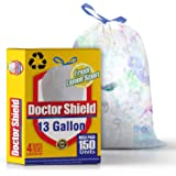 13 gallon Kitchen Trash Bags Garbage Bag Trash Can Liners for Dumpster Bin 150 Count – Strong White Drawstring Odor…