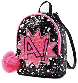 b7ac583b1df Amazon.com | Justice Girls Power Sequin Initial Mini Backpack (R ...