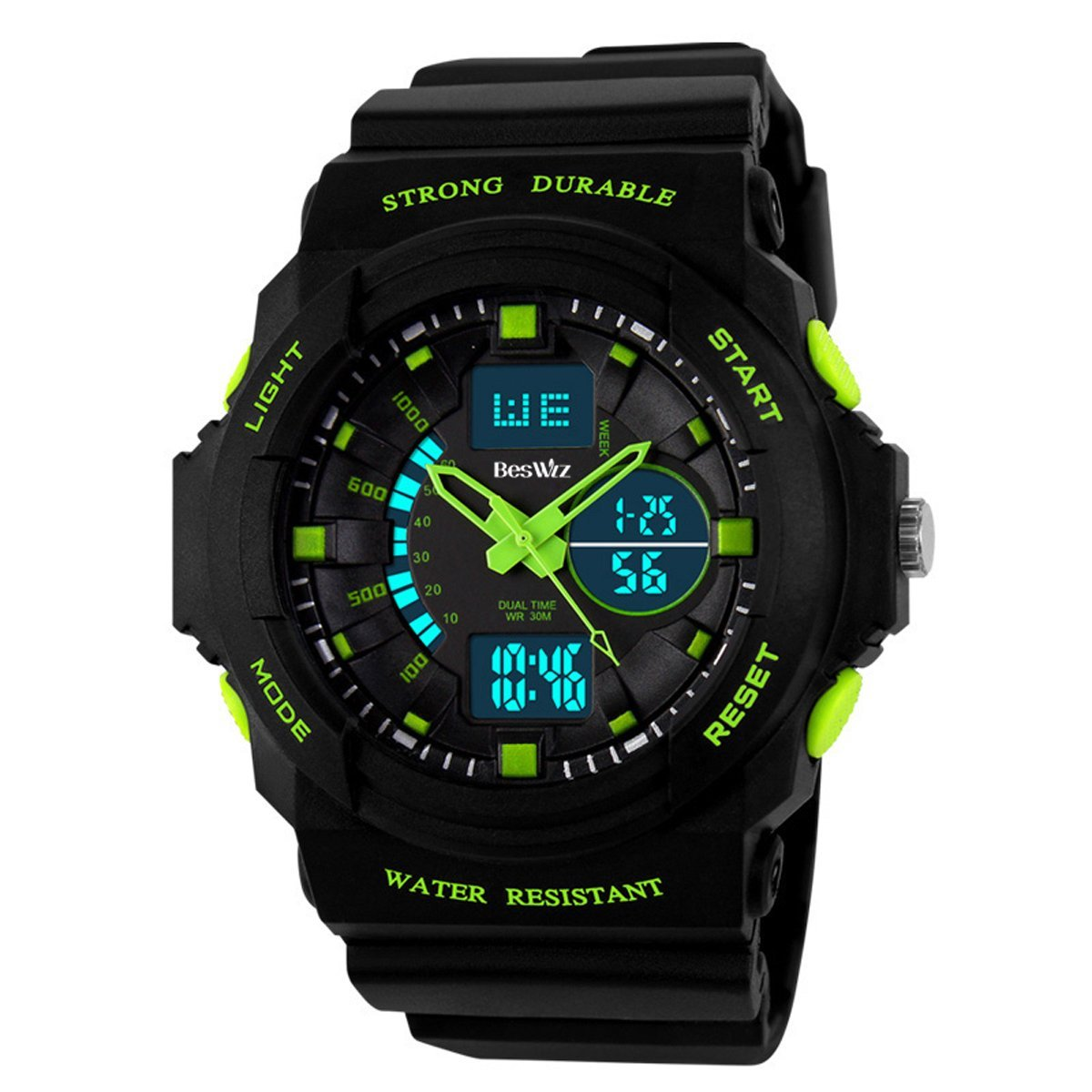 BesWLZ Multi Function Mens Military DualTime Digital Analog Chronograph Sport Wrist Watch 50M Water Resistant Waterproof for Boy Girls Child Kids Gift (Green) by BesWlz