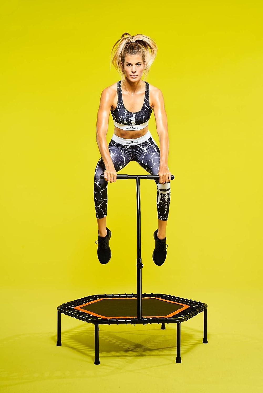 Sprungtrainer h/öhenverstellbar in 3 Farbvarianten GORILLA SPORTS Fitness-Trampolin mit Griff /Ø 100 cm