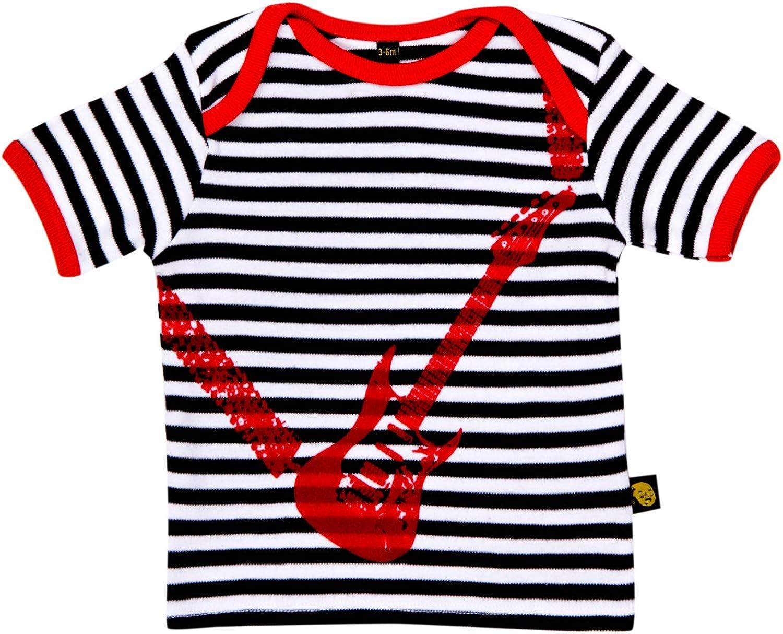 Rockabye-Unisex Baby Guitar Tee shirt Short Sleeve T-Shirt Black//White