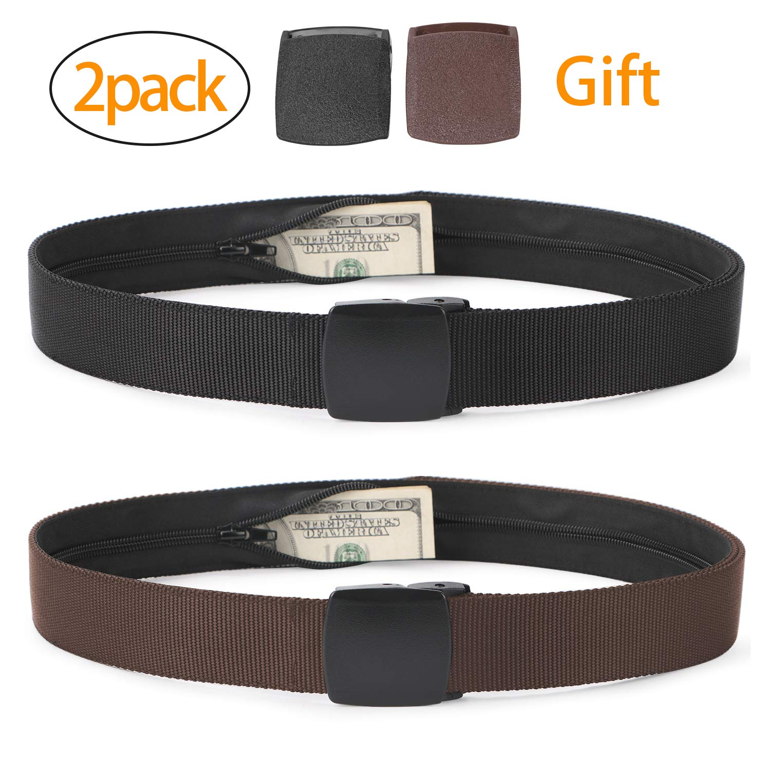 Travel Security Money Belt with Hidden Money Pocket - Cashsafe Anti-Theft Wallet Unisex Nickel free Nylon Belt by JASGOOD (Suit for pant size 26-40'', 7-Black+Coffee)