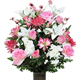 Beauty Roses and White Lily Mix Artificial Bouquet, featuring the Stay-In-The-Vase Design(c) Flower Holder (LG1394)