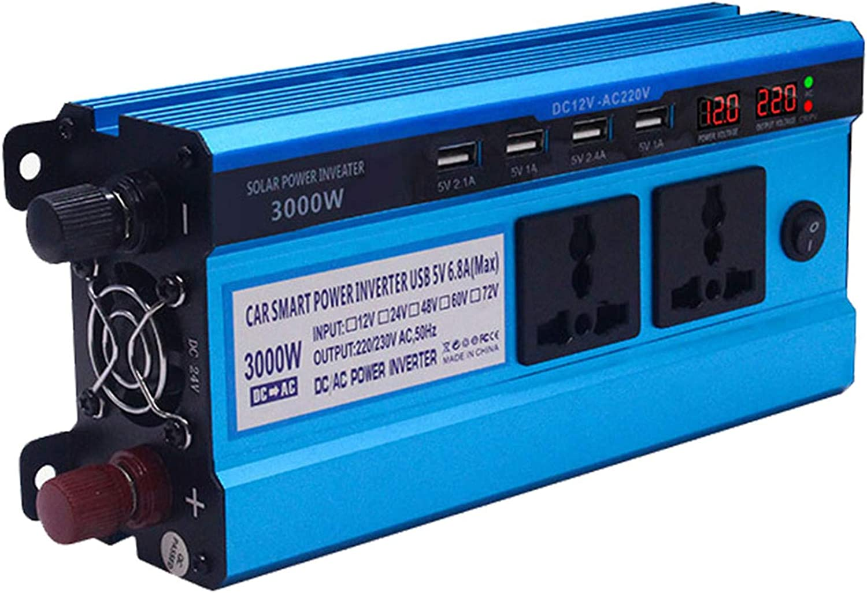 GRTBNH Inversor de Onda sinusoidal modificada 500W / 3000W / 4000W / 5000W Inversor de Corriente para automóvil DC 12V / 24V a 220V con 4 Puertos USB y Pantalla Digital Dual,12v,3000W