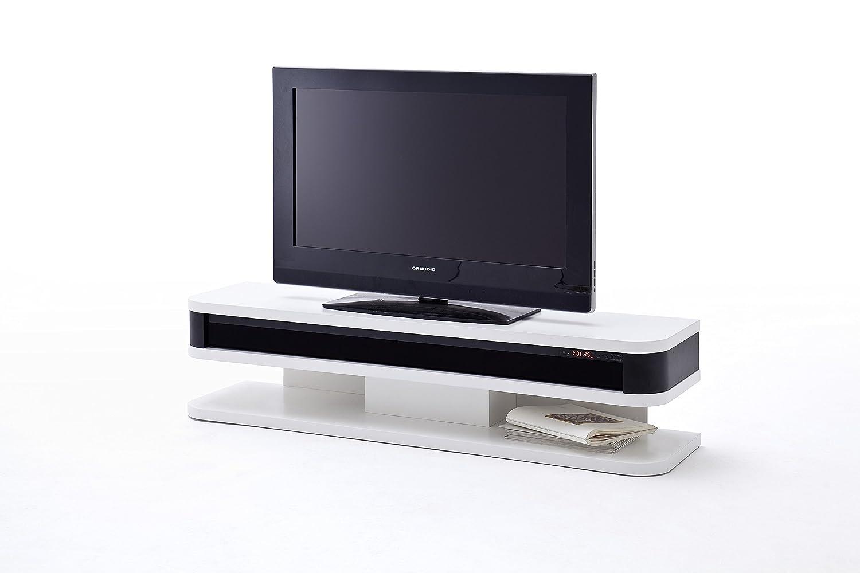 robas lund lowboard fernsehtisch tv schrank junior weiss matt mit soundsystem 151 x 40 x 35 cm 59132wss amazon de kuche haushalt