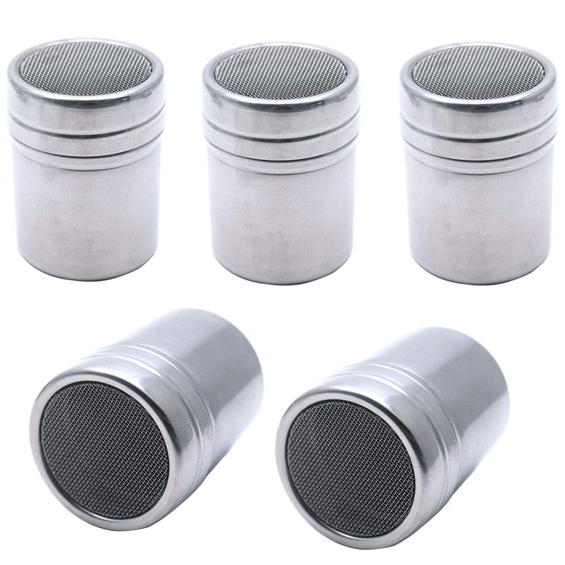 Sscon 5-Pieces Stainless Steel Powder Sugar Shaker with Lid Fine Mesh Chocolate Icing Sugar Cocoa Flour Coffee Sifter (2.28 x 3.87 inch) by Sscon