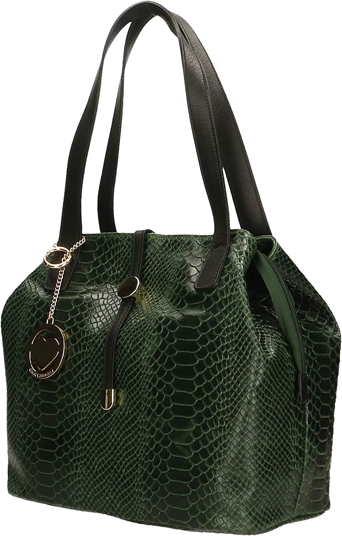 Chicca Borse Bag Borsa a Spalla in Pelle Made in Italy 30x24x13 cm Verde