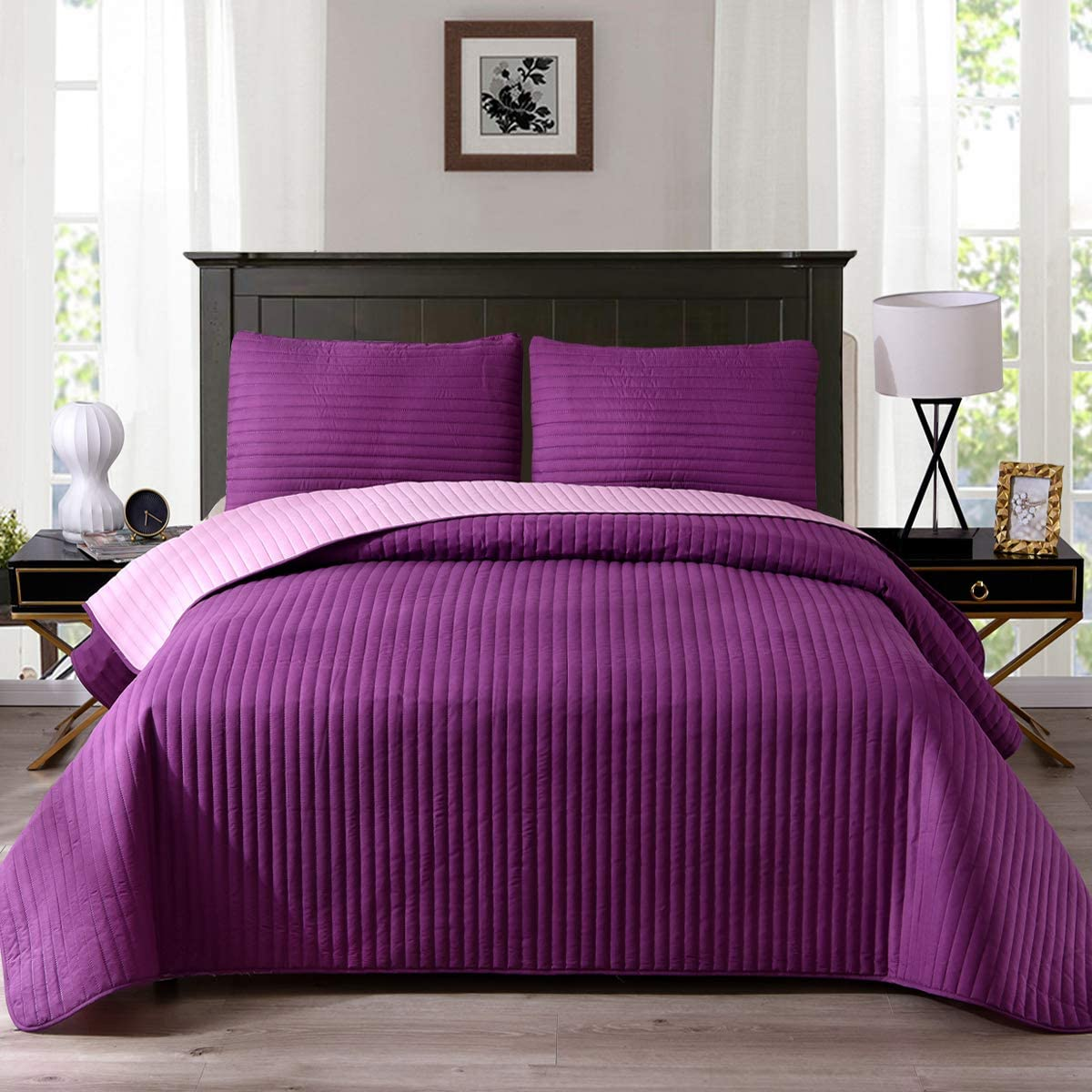 "Exclusivo Mezcla Ultrasonic Reversible 3-Piece Queen Size Quilt Set with Pillow Shams, Lightweight Bedspread/Coverlet/Bed Cover - (Purple, 92""x88"")"