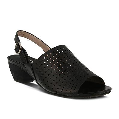 Women's Spring Step Eleanor Sandal | Color Black | Women's Leather  Sling-Back Sandal (