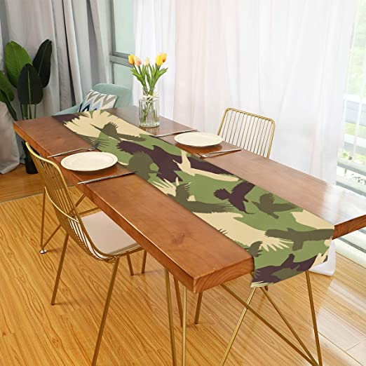 Amazon Com Farmhouse Table Runner For Home Kitchen Dining Table Coffee Table Decor Home Decor Farmhouse Camouflage Table Linens For Indoor Outdoor Everyday Uses 13x70in Home Kitchen