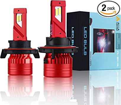 9008 LED Headlight Newest 6000 Lumens Extremely Super Bright 6000K Xenon White SUPER Mini H13 LED Headlight Bulb All-in-One Conversion Kits 9008 Headlamps Bulbs H13 9008 Alla Lighting INS H13