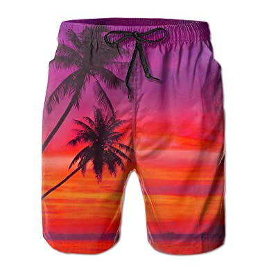 f89356ae84 Pink Orange Palm Tree Sunset Elastic Waist Mens Boardshorts Quickly Drying  Swim Trunks Board Shorts With