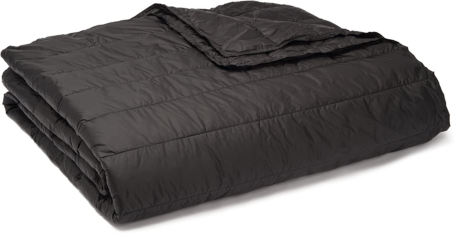 PUFF Down Alternative Indoor/Outdoor Water Resistant Blanket with Extra Strong Nylon Cover, King, Black