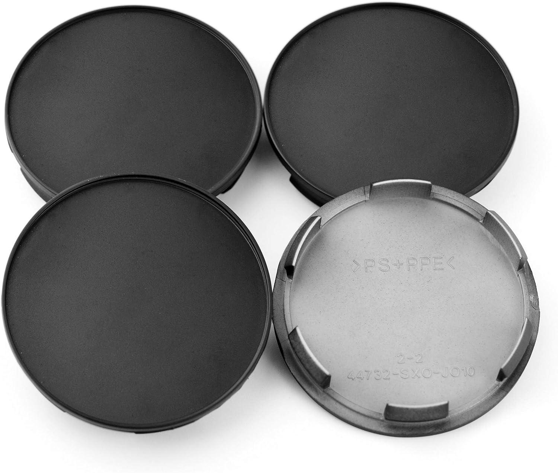 Replace # 44732-SXO-JO10 64mm Black ABS Car Wheel Center Hub Caps Set of 4 Rhinotuning 70mm
