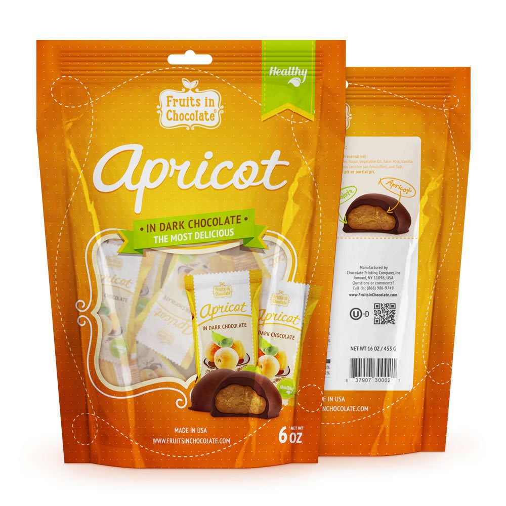Dark Chocolate Covered Apricots, 6 Oz Bag by Fruits in Chocolate