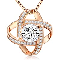 62e7ef91a Swarovski Elements 18K Rose Gold Plated 925 Sterling Silver Pendant  Necklace JRosee Jewelry for Women Gift