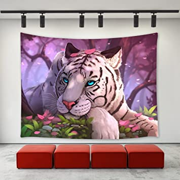 LBKT White Tiger Tapestry Wall Hanging ,Fantasy White Tiger Blue Eyes In  The Forest Oil