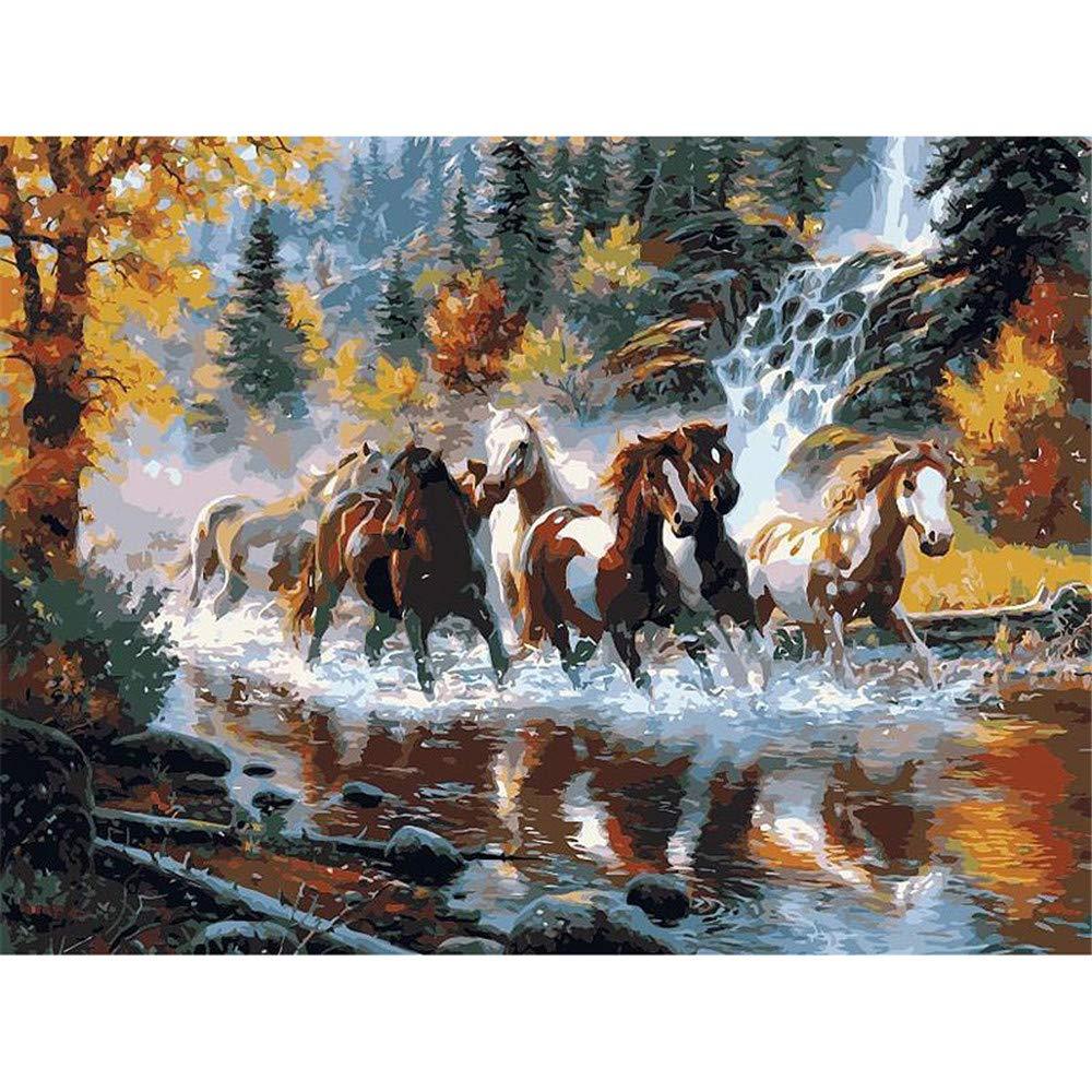 Malen Nach Zahlen Eine Gruppe Von Pferden, Die In Den Fluss Home Decor Für Erwachsene DIY Laufen-Framed B07Q5N9YWG   Deutsche Outlets