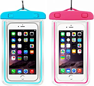 (2Pack) Universal Waterproof Phone Case, IPX 8 Phone Pouch Dry Bag Neck Strap Compatible with iPhone 11 12 pro XR X XS MAX/8 Plus/8/7/6S Plus,Moto up to 6.2