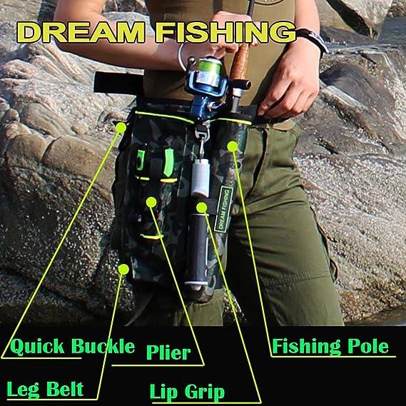 Amazon.com   QualyQualy Fly Fishing Rod Bag With Fishing Tackle Storage Box  Cover Case Multi-function Nylon Fishing Waist Pack Leg Bag Camouflage Camo  ... 7c294bc64cc07