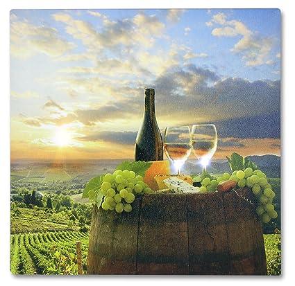 Amazon.com: Tuscan Wall Art - LED Canvas Print with a Vineyard Scene ...